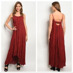 Dresses & Skirts - Red gingham dress, red checkered maxi dresses